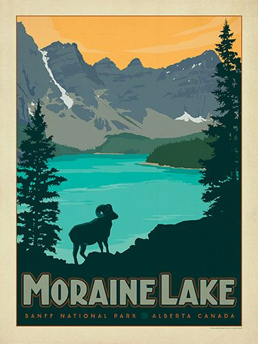 Canada: Moraine Lake - This bold and adventurous travel poster was inspired by vintage travel prints from the Golden Age of Poster Design.