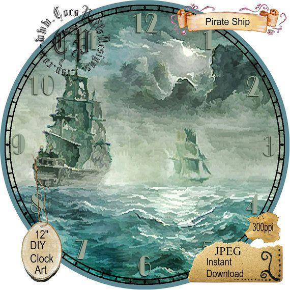 Corsair Sailing Ship on the High Seas Art DIY от CocoPuffsDesigns