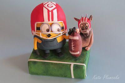 Minion football - Kate Plumcake, Katia Bernini cereal treat and fondant hand modeled on birthday cake