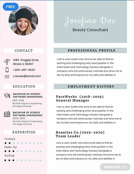 Free Beauty Consultant Resume KPI Pinterest Resume templates