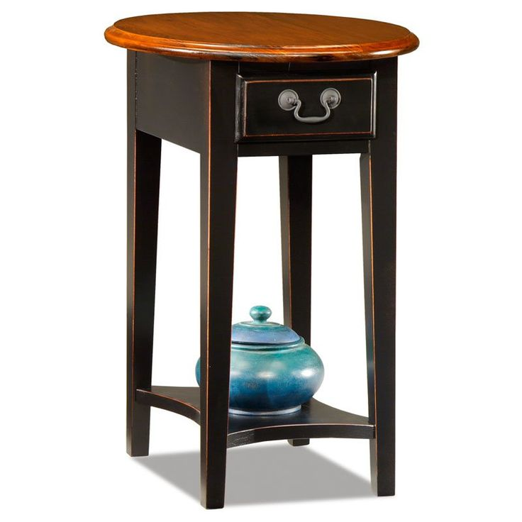Good Oval Oak End Table In Black   $109 @hayneedle