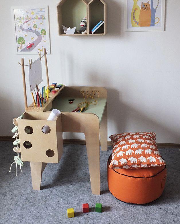 Schreibtisch für Kinder aus Holz, Möbel für das Kinderzimmer / wooden desk for children, furniture for child's room by LapGap via DaWanda.com