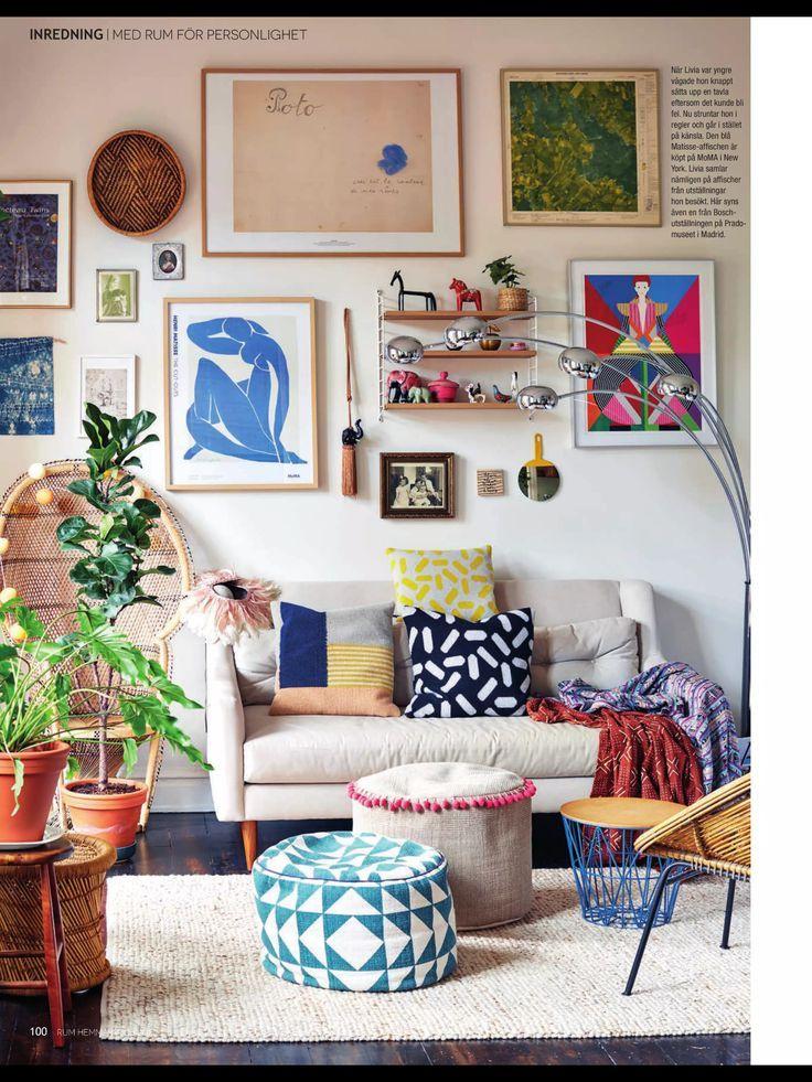 Gemischte Materialien, vielseitige Elemente und lebendige Farben machen einen kleinen Raum einladend