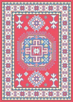 Dollhouse Miniature Needlepoint Area Rug Pattern by ScarletSails, $15.00
