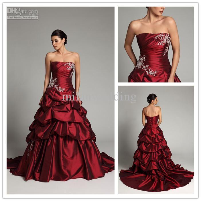 Trendy Allure Dark Red Wedding dresses Satin Applique Court Floor length Strapless Ball Gown Wedding gown