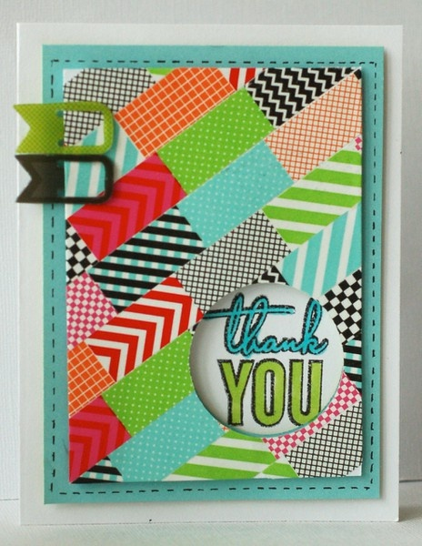 washi tape thank you card + sketch by kimber mcgray: Cute Cards, Cards Ideas, Kimberly Mcgray, Kimbermcgray 2Peasinabucket, Cards Patterns, Thanks You Cards, Washi Tape, Cardmaking Ideas Bicycles, Cards Sketch