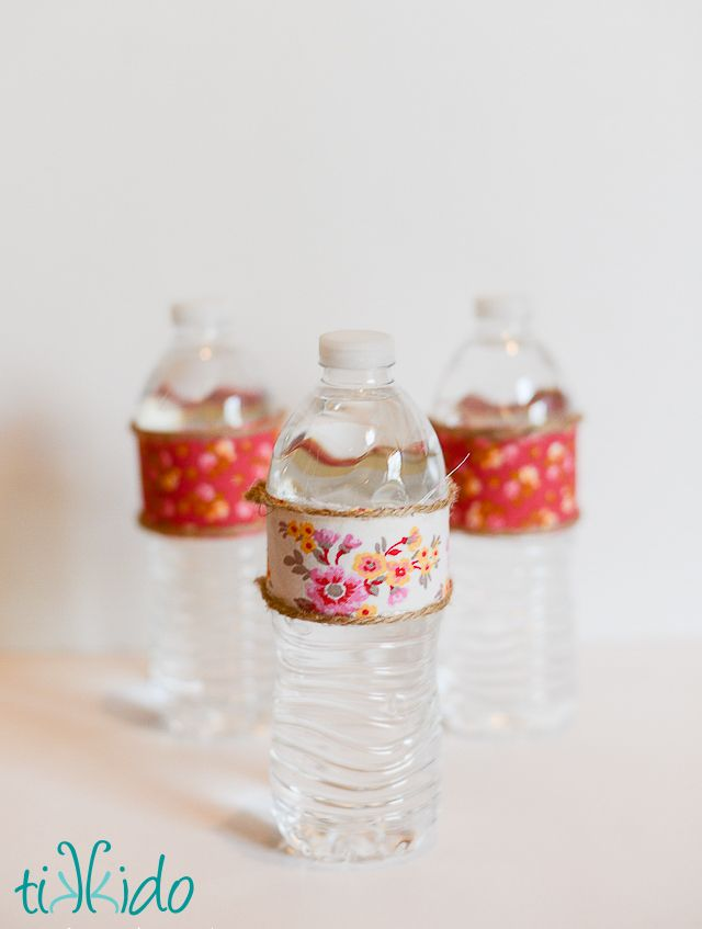 Easy Fabric Decorated Water Bottle Tutorial | Tikkido.com