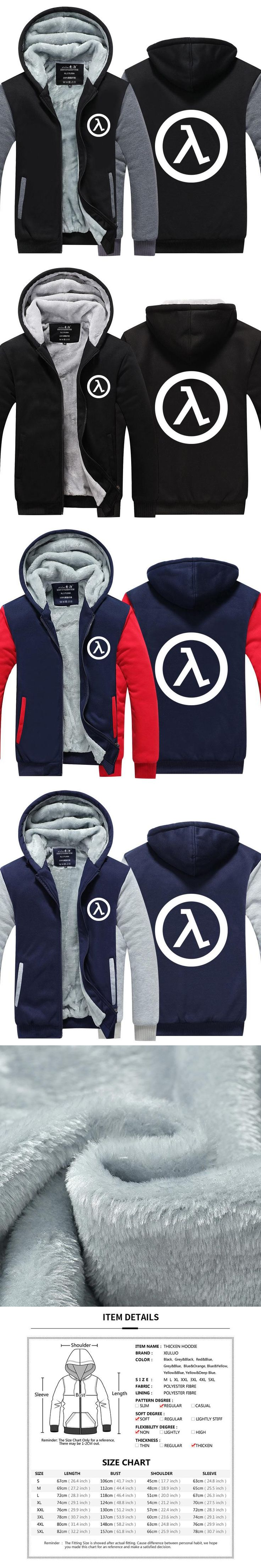 Mens Game Hoodie Half Life FPS video game Jacket Thicken Fleece Hoodie Winter Zipper Coat US EU Plus Size
