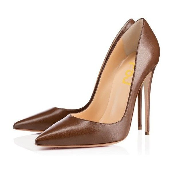 Brown Office Heels Pointy Toe Stiletto Heel Pumps by FSJ ($55) ❤ liked on Polyvore featuring shoes, pumps, brown pointy toe pumps, pointed toe stilettos, brown formal shoes, brown pumps and brown stilettos