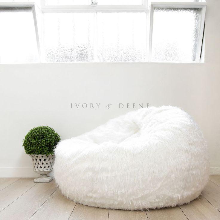 FUR BEANBAG Cover Soft White Bedroom Luxury Polo Bean Bag Lounge Movie Chair #IvoryDeene #ShaggyRound