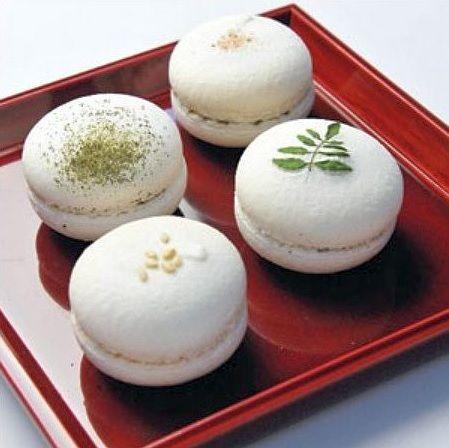 「六雁」japanese macarons 白味噌、きんとん、求肥、ごま豆腐