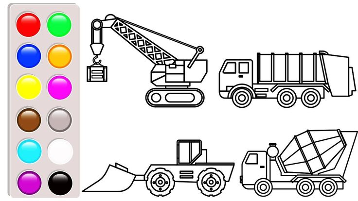 Learn colors with construction truck, bulldozer and crane truck coloring...