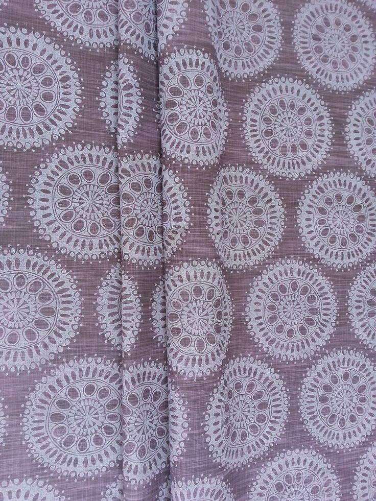 Maradadhi Textiles, Maradadhi Flower Design. This colourway is Marshmallow and Burgundy onto cotton.