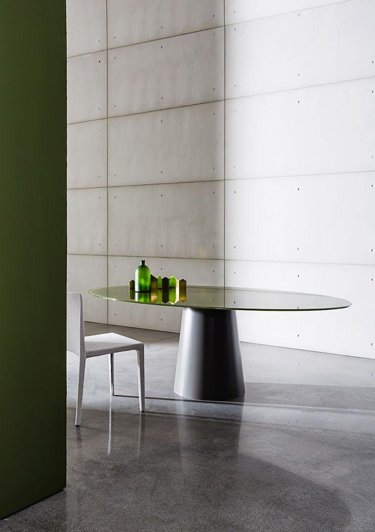 Table ovale en acier inoxydable et cristal TOTEM ELLIPTICAL - SOVET ITALIA