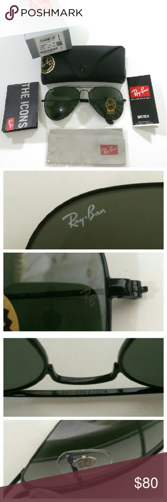 AUTHENTIC Dark green Ray Ban aviator AUTHENTIC  100% firm on price Brand new in box Made in Italy  Serial number L2821 (barcode shown) Size 62mm  Lens color --- Dark green (real glass lens for better vision) Black frame  Comes with box, case, cleaning cloth and booklet Fast shipping (will ship same day if purchased before  1pm) with 2-3 days priority mail  Trusted seller!!! Ray-Ban Accessories Glasses