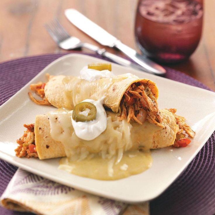 Turkey Enchiladas Verdes Recipe -Planning a fiesta night? These authentic-tasting enchiladas in spicy green sauce will please the whole family and you'll be thankful for turkey leftovers.—Karyn Power, Arlington, Texas