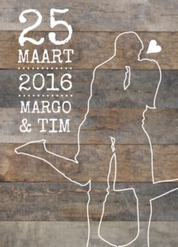 Moderne en stoere trouwkaart met silhouet van een verliefd stel op een robuuste achtergrond van hout.