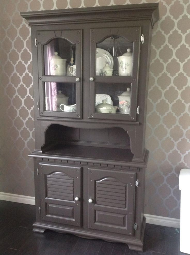Sold Wood China Cabinet and Hutch