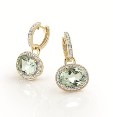 Kate's green amethyst earrings, purchased at Kiki McDonough, manufactured by Al Coro