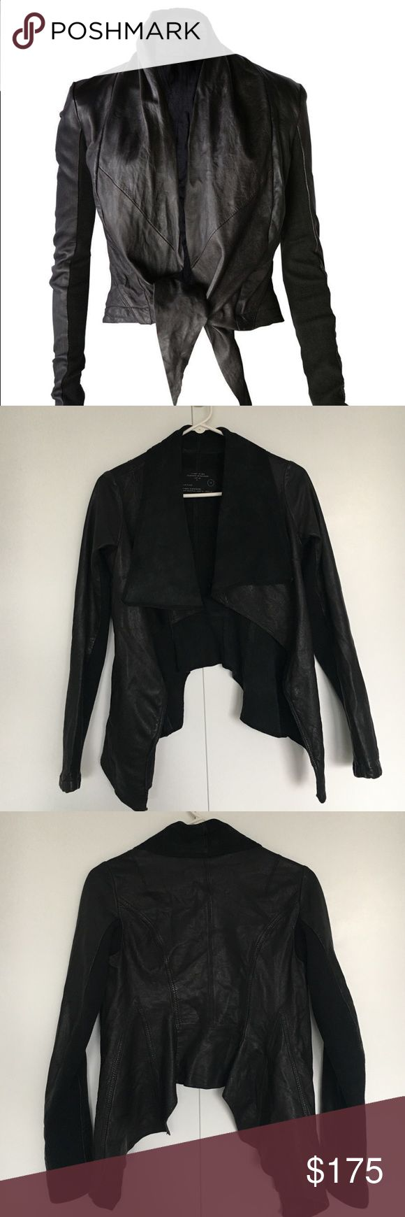 All Saints Waterfall Leather Jacket Gorgeous light-weight genuine leather jacket, only flaw is a small mark on the top left hand shoulder, but hardly noticeable. There are 2 front pockets and the under arm is a breathable knitted jersey. Size UK 12, would fit a 4-6 best All Saints Jackets & Coats