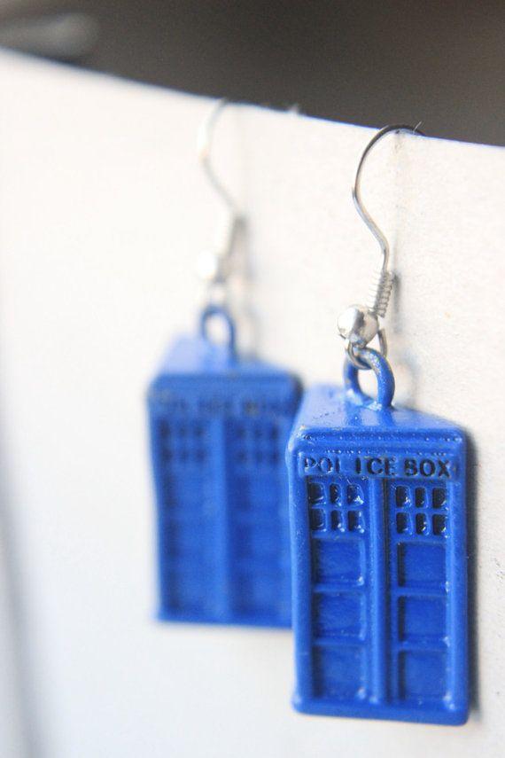 Dr. Who Jewelry  Blue Tardis Earrings DOCTOR by GeekeryandFandoms