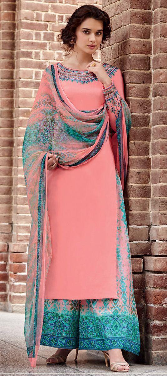 498520: Pink and Majenta color family unstitched Party Wear Salwar Kameez .