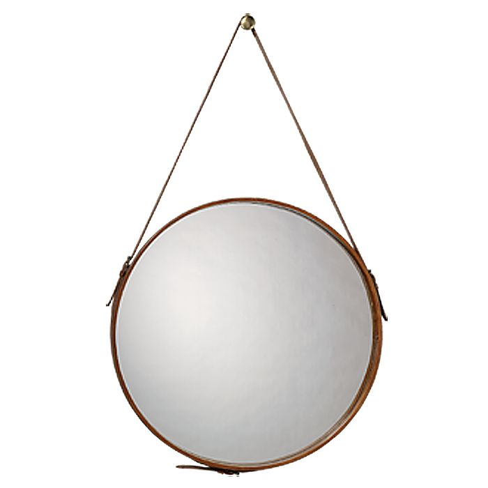 Round Leather Mirror by Jamie Young Co. - similar to the one in the bath I just pinned.