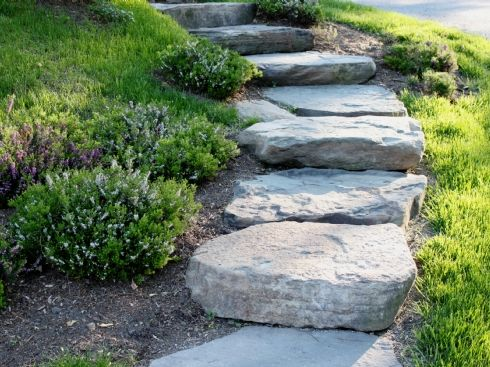 34 best large slab stone steps images on pinterest garden paths simple stone steps down to pool workwithnaturefo