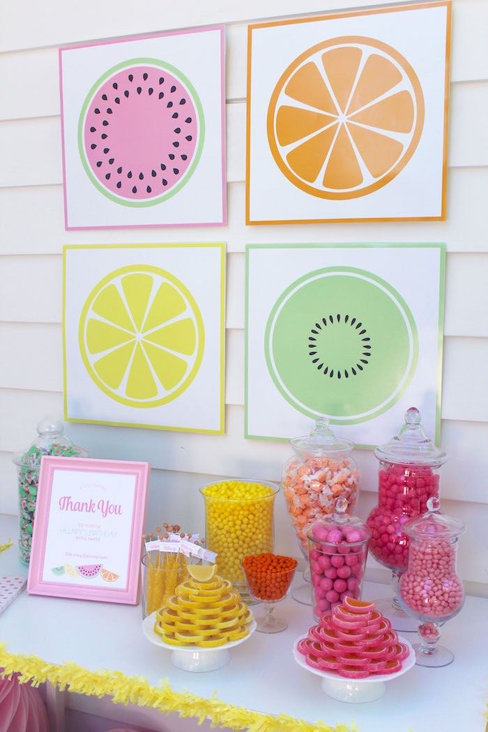 Candy Buffet from a Fruity Lemonade Stand Birthday Party via Kara's Party Ideas…
