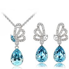 Šperky Sady Doprava zdarma kvalitní horké populární rakouské Crystal Butterfly přívěsek žen náhrdelník Náušnice příslušenství (Čína (pevninská část))