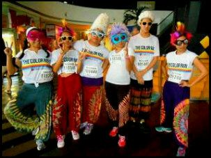 Psychedelic costumes at the Color Run in Jakarta.