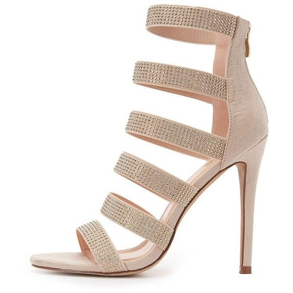 Liliana Embellished Caged Dress Sandals ($31) ❤ liked on Polyvore featuring shoes, sandals, nude, heeled sandals, nude shoes, strap heel sandals, embellished sandals and strappy sandals
