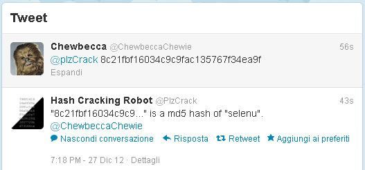 Decodificare hash MD5 via Twitter | Nicola Selenu, il Blog