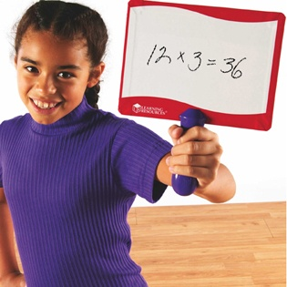 Write-on / Wipe-off Answer Boards - Shop by Subject - Parents - Learning Resources®  Double-sided dry-erase boards: 5 red AND 5 blue (for team differentiation, if you'd like) for just $39.99... I really love this site... but I'm still hoping to find dry erase boards cheaper elsewhere.
