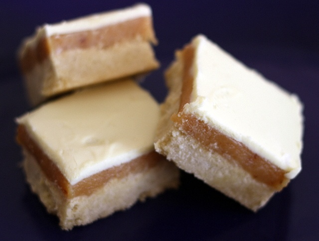 Billionaire's shortbread with salted caramel and white chocolate.