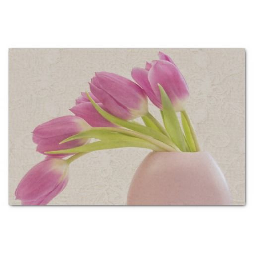 """Pink Tulips And Lace 10"""" X 15"""" Tissue Paper"""