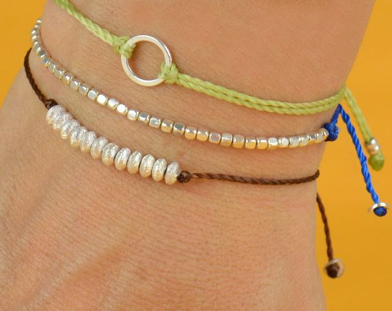 Sterling silver  friendship cord bracelet