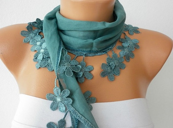 Teal Scarf   Cotton  Scarf  Headband Necklace Cowl by fatwoman, $15.00
