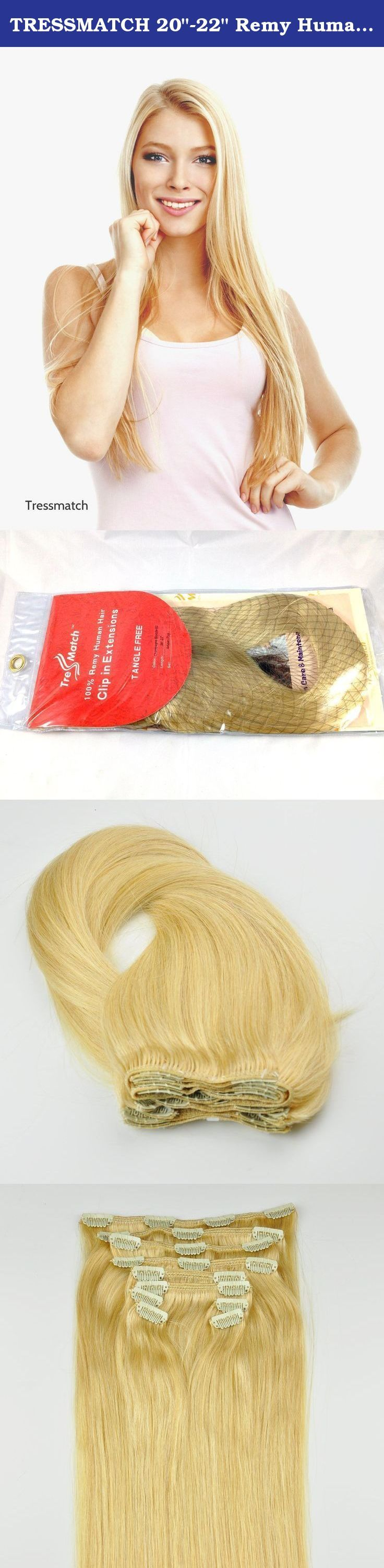 """TRESSMATCH 20""""-22"""" Remy Human Hair Clip in Extensions Champagne/Warm Blonde (#22) Thick to Ends Full Head Luxury Set [5.3oz/150grams). The champagne blonde is multi-toned, making it easy to match and blend with a range of medium to light blonde hair with warm tones. This 10-weft set (one 8"""" wide/ 4 clips, two 7"""" wide/3 clips each, one 6"""" wide/3 clips, two 4"""" wide/ 2 clips each & six 1.5"""" wide/ 1 clip each) offers you a quick and easy solution by adding hair length and style by yourself in..."""