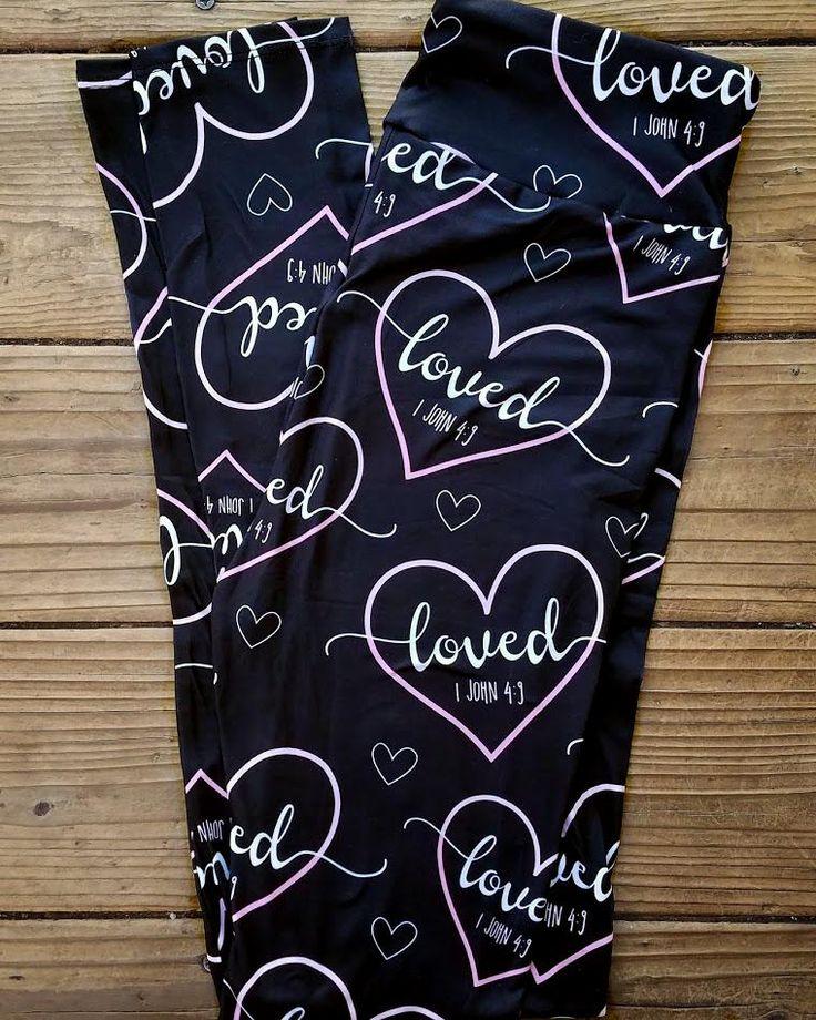 Valentine Heart Premium Lounge Leggings - Loved 1 John 4:9 - Yoga Waist