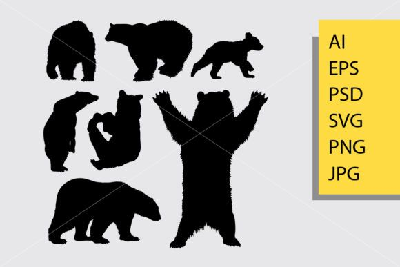 Bear Animal 2 Silhouette Graphic By Cove703 Creative Fabrica Bear Stuffed Animal Animal Silhouette Bear Silhouette