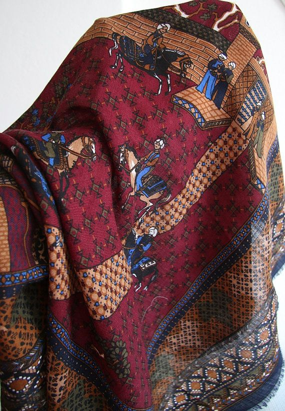 100 % wool Scarf Vintage  shawl 80'   Romantic retro by CRYNOT