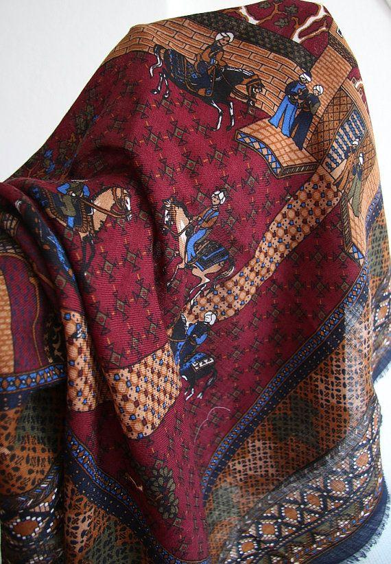 100 % wool Scarf Vintage  shawl 80'   Romantic retro by CRYNOT