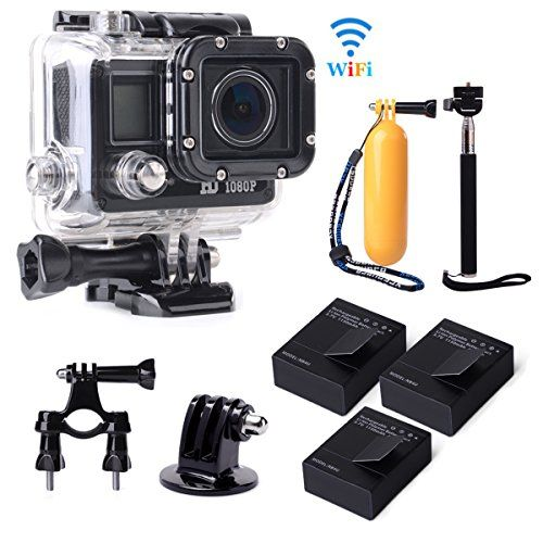 XCSOURCE® Full HD WiFi 14MP 1080p Fotocamera de Acción Cámara Action Camera Impermeabile de Bicicleta Casco Vídeo de Doporte + 3 Batería + Accesorios Kit LF605