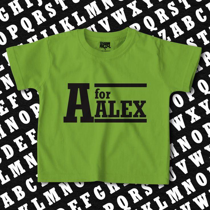 custom name T-shirt with a big letter your little one's name starts with. personalised t-shirts for kids, letter t shirts