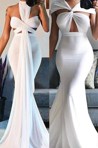 Sexy White Plunging Neck Dress For Women