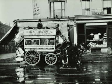 London General Omnibus Company horse-drawn omnibus, Walham Green and Shoreditch with road sweeper in foreground, 1909