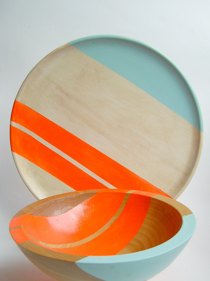 Modern Neon Hardwood 10 Dinner Plate Electric Orange