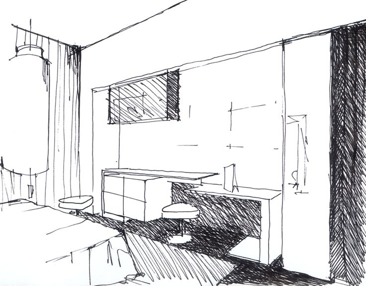 Sketch of a room from ''Monginevro Hotel''  for competition which ''Starhotels'' got the first prize. #1st #Prize #Sketch #Interior #Light #Curtain #Render #Table #Miror #Minibar #Bed #Hotel #Lights #Architecture #Desing #Render #3D #Carpet #Gray #White #Black #ClaudioNardi #ClaudioNardiArchitects