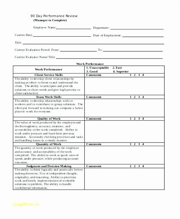 30 Day Performance Review Template Elegant Templates 30 60 90 Day Employee Review Template Employee Evaluation Form Performance Reviews Evaluation Employee